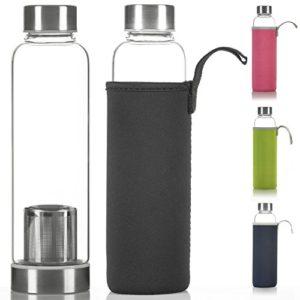DIMONO Deluxe Trinkflasche aus Glas 600ml - Sport Glasflasche Wasser-Flasche; bruchsicher mit Edelstahl Filter-Einsatz & Nylon Thermo-Hülle - Schwarz - 1