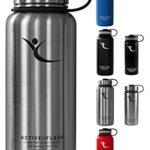 Trinkflasche Active Flask von BeMaxx Fitness + 3 Trinkverschlüsse - Doppelwandig vakuum-isolierte Edelstahl Thermosflasche für Büro, Sport, Outdoor - Ideal für Kaffee, Tee, Kaltgetränke (Classic Stainless | 950ml) - 1
