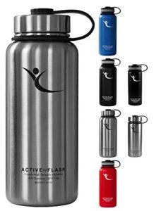 Trinkflasche Active Flask Thermosflasche von BeMaxx Fitness + 3 Trinkverschlüsse - Doppelwandig vakuum-isolierte Edelstahl Thermosflasche für Büro, Sport, Outdoor - Ideal für Kaffee, Tee, Kaltgetränke (Classic Stainless | 950ml) - 1