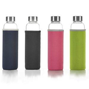 DIMONO Deluxe Trinkflasche aus Glas 600ml - Sport Glasflasche Wasser-Flasche; bruchsicher mit Edelstahl Filter-Einsatz & Nylon Thermo-Hülle - Grün - 10